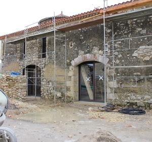 façade arrière pendant travaux création des baies vitrées