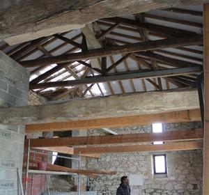 intérieur pendant travaux  rénovation de la toiture