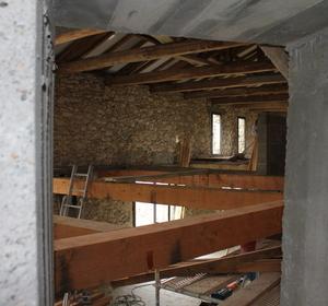 intérieur création du plancher pour créer deux niveaux
